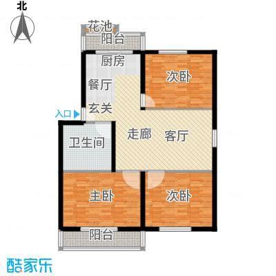 运河花园117.10㎡三室二厅一卫户型