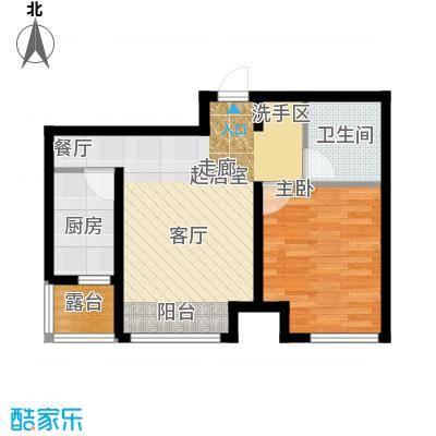 红大领域K户型62平米一室一厅一卫户型图户型1室1厅1卫