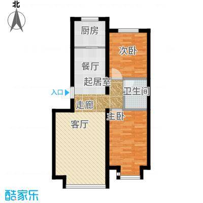 红大领域两室两厅一厨一卫76.07-78.88平户型2室2厅1卫