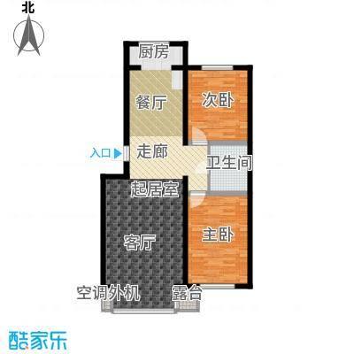 江畔小镇2室2厅1卫1厨101.17㎡户型2室2厅1卫