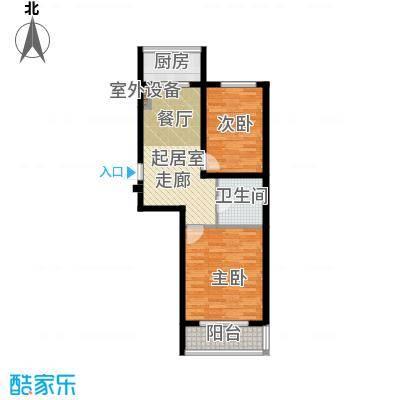 江畔小镇2室1厅1卫1厨67.77㎡户型2室1厅1卫