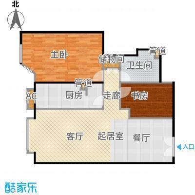 京贸国际公寓95.54㎡D户型2室2厅1卫户型