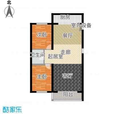 江畔小镇2室2厅1卫1厨104.43㎡户型2室2厅1卫