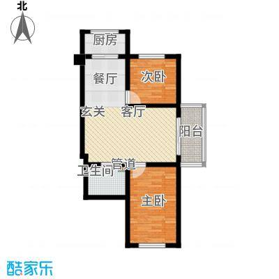 金丰.紫馨花园2室1厅1卫1厨73.00㎡户型2室1厅1卫