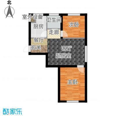 江畔小镇2室2厅1卫1厨65.88㎡户型2室2厅1卫