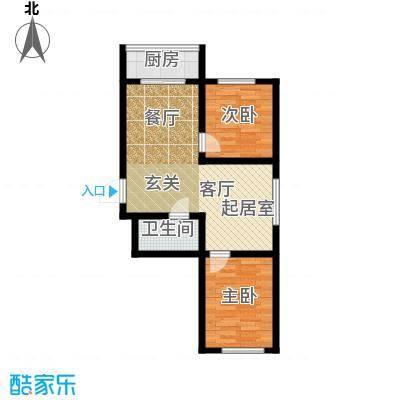 江岸龙苑74.00㎡江岸龙苑J1户型两室两厅约74平米户型图户型2室2厅1卫