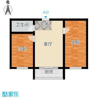 江岸龙苑69.00㎡B户型2室1厅1卫1厨 69.00㎡户型2室1厅1卫
