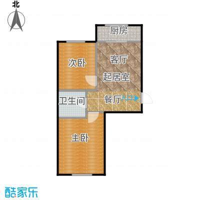 新地山湾A3户型二室一厅一卫约57.96平米户型图