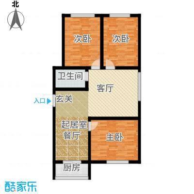 江岸龙苑94.00㎡N户型3室2厅1卫1厨 94.00㎡户型3室2厅3卫
