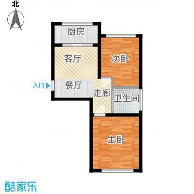 金地卡诗维亚15#A户型 两室一厅一卫 建筑面积约63.62㎡户型2室1厅1卫