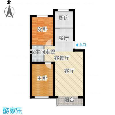 盈胜毓园盈胜毓园D户型两室一厅一卫84㎡户型图户型2室1厅1卫