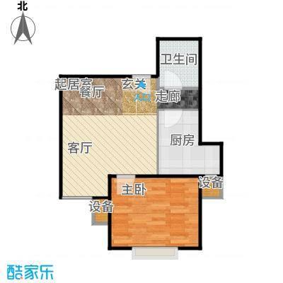 葵花社60.55㎡D户型一室两厅一卫户型