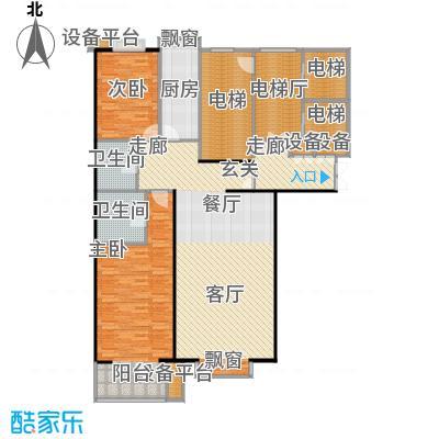 都市节奏129.52㎡3号楼三单元西两室两厅两卫户型