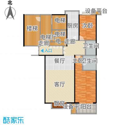 都市节奏125.89㎡3号楼七单元东两室两厅两卫户型