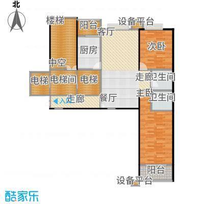 都市节奏113.30㎡二室二厅二卫户型
