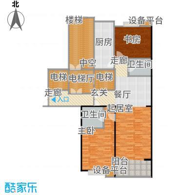 都市节奏124.95㎡3号楼五单元东两室两厅两卫户型