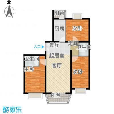 通典铭居135.55㎡H栋D户型3室2厅2卫1厨户型