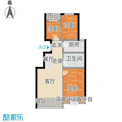 书香雅居95.00㎡两室两厅一卫户型2室2厅1卫