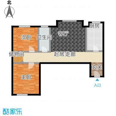 天通・公园里101.00㎡08户型小南北两居2室1厅1卫1厨户型2室1厅1卫