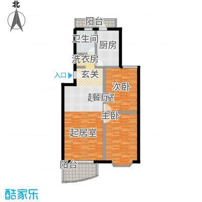 自然佳境98.01㎡5#、6#楼A户型2室2厅1卫户型