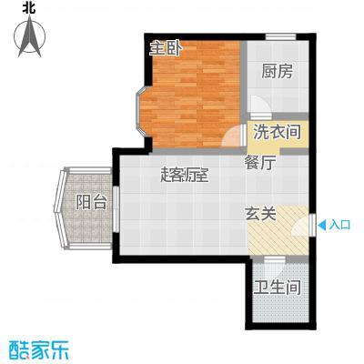 自然佳境62.63㎡1#楼甲户型1室1厅1卫户型