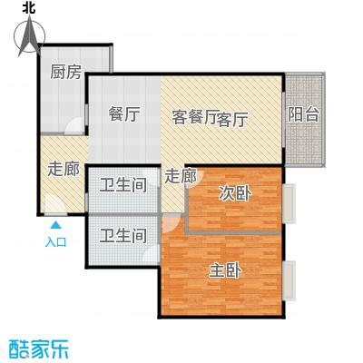 新华经典丽园107.07㎡2室1厅户型