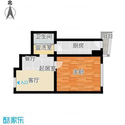 鑫隆帝豪61.75㎡鑫隆帝豪面积61.75平米一室一厅一卫户型图户型1室1厅1卫