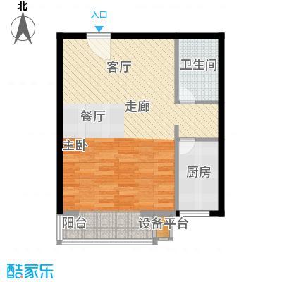 书香名邸57.36㎡11#标准层C一室二厅一卫户型
