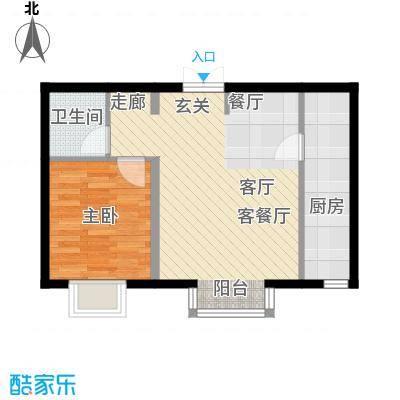 书香名邸B一室二厅一卫户型