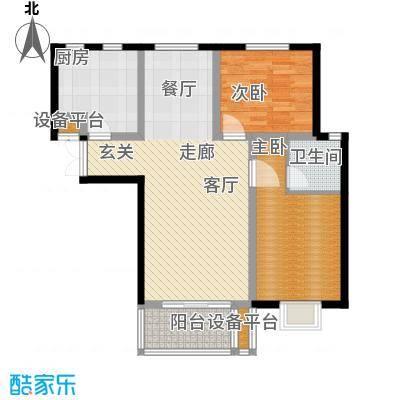 书香名邸D二室二厅一卫户型