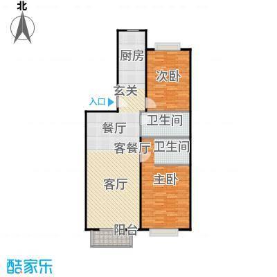华飞园94.43㎡二室二厅二卫户型