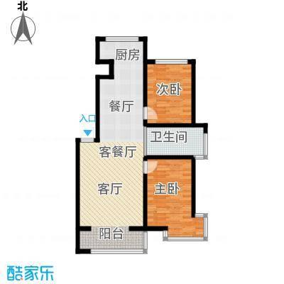 嘉业紫荆花2室2厅1卫1厨100.60㎡户型2室2厅1卫