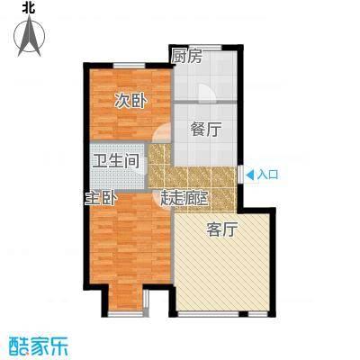 红大领域C户型78-92平米两室两厅一卫户型图户型2室2厅1卫