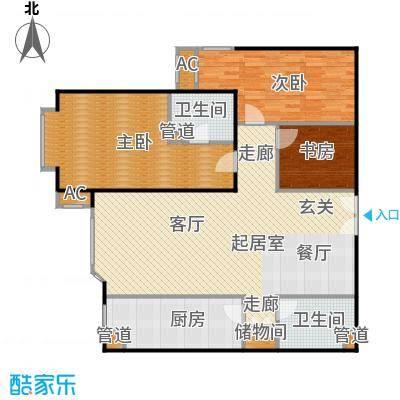 京贸国际公寓121.49㎡B户型2室2厅2卫户型