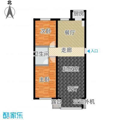 江畔小镇2室2厅1卫1厨118.19㎡户型2室2厅1卫