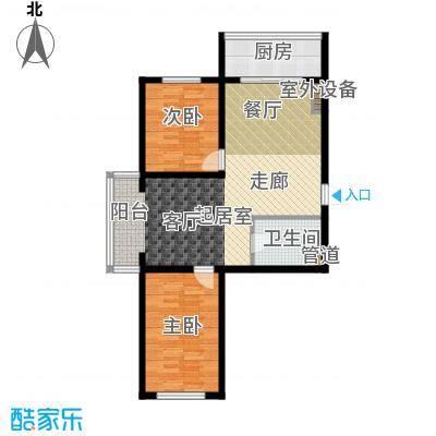 江畔小镇2室2厅1卫1厨80.51㎡户型2室2厅1卫