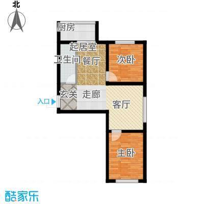 江岸龙苑69.00㎡江岸龙苑A1户型两室两厅约69平米户型图户型2室2厅1卫