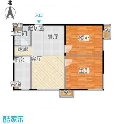 东亚上北中心79.85㎡11号楼C5反户型二居户型
