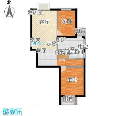 紫金新干线89.41㎡B15两室两厅一卫户型