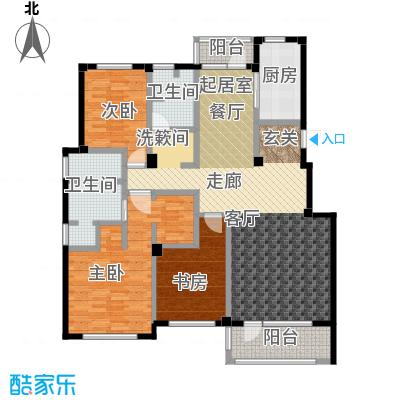 百合花园150.00㎡L户型 3室2厅2卫1厨户型