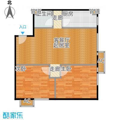 东亚上北中心84.44㎡4号楼C6反户型二居户型
