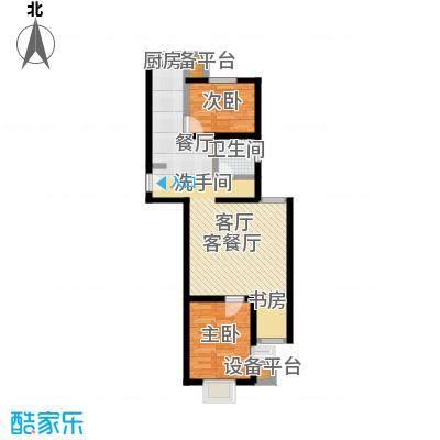 上上城青年社区二期85.00㎡B4户型 二室一厅一卫户型2室1厅1卫