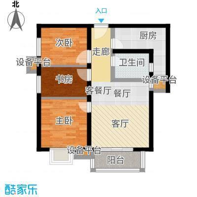 上上城青年社区二期89.00㎡G2户型 二室一厅一卫户型2室1厅1卫
