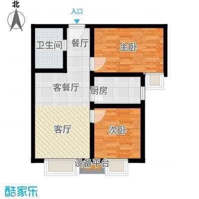 上上城青年社区二期84.00㎡F2户型 二室一厅一卫户型2室1厅1卫