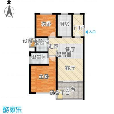开维生态城87.05㎡F1户型两房两厅两卫户型2室2厅2卫