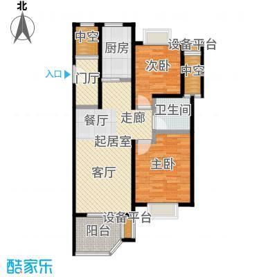 开维生态城79.04㎡小高层公寓C户型两房两厅一卫户型2室2厅1卫
