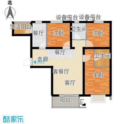 华都泊雅园111.94㎡C、C反户型3室1厅2卫户型3室1厅2卫