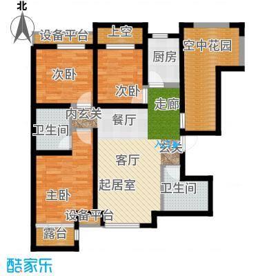 华夏第九园・兰亭99.39㎡雅舍D反奇数层3室2厅2卫1厨户型3室2厅2卫