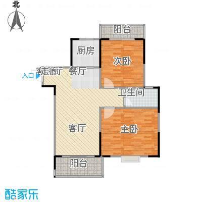南海佳园91.41㎡E户型图 两房两厅户型2室2厅1卫