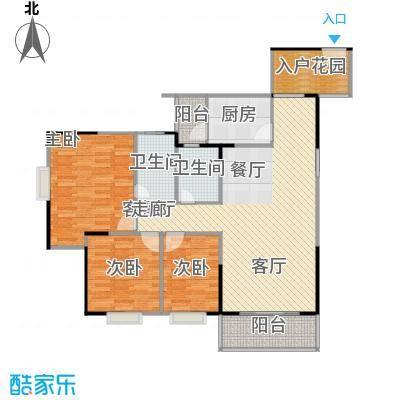 南海佳园119.62㎡C户型图 三房两厅户型3室2厅2卫